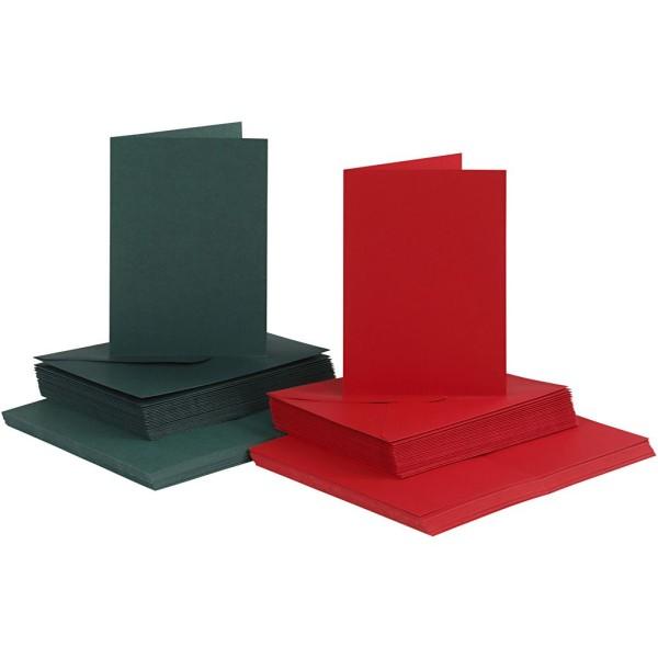 Cartes 10,5 x 15 cm et enveloppes - Vert et rouge - 50 sets - Photo n°1
