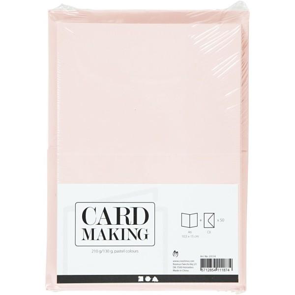 Cartes 10,5 x 15 cm et enveloppes - Assortiment Pastel - 50 sets - Photo n°2