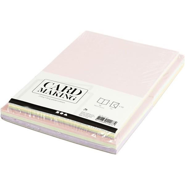 Cartes 10,5 x 15 cm et enveloppes - Assortiment Pastel - 50 sets - Photo n°3