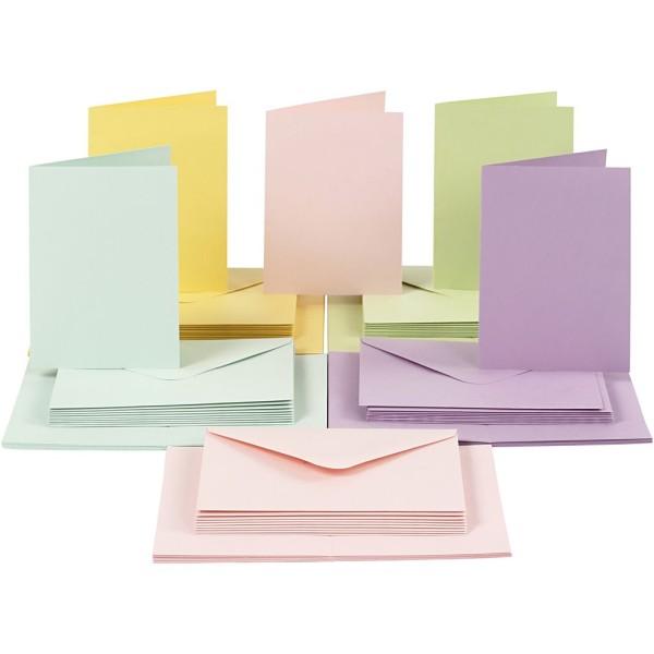 Cartes 10,5 x 15 cm et enveloppes - Assortiment Pastel - 50 sets - Photo n°1