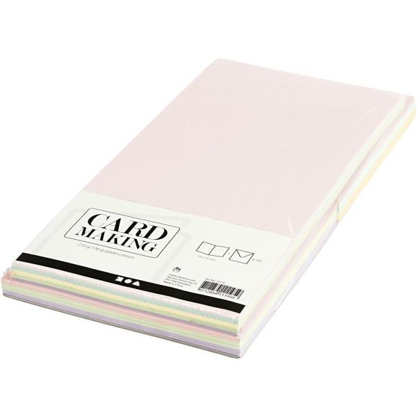 Cartes et Enveloppes - Couleurs Pastels - 15 x 15 cm, Dimension Enveloppes 16X16 Cm - 50 pcs - Photo n°3