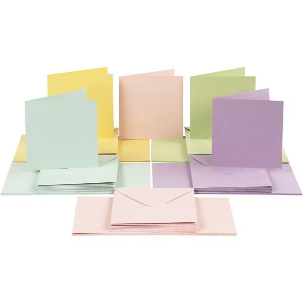 Cartes et Enveloppes - Couleurs Pastels - 15 x 15 cm, Dimension Enveloppes 16X16 Cm - 50 pcs - Photo n°1