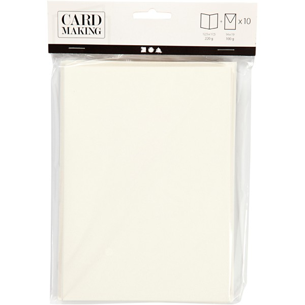 Cartes 12,5 x 17,5 cm et enveloppes - Blanc cassé - 10 sets - Photo n°2