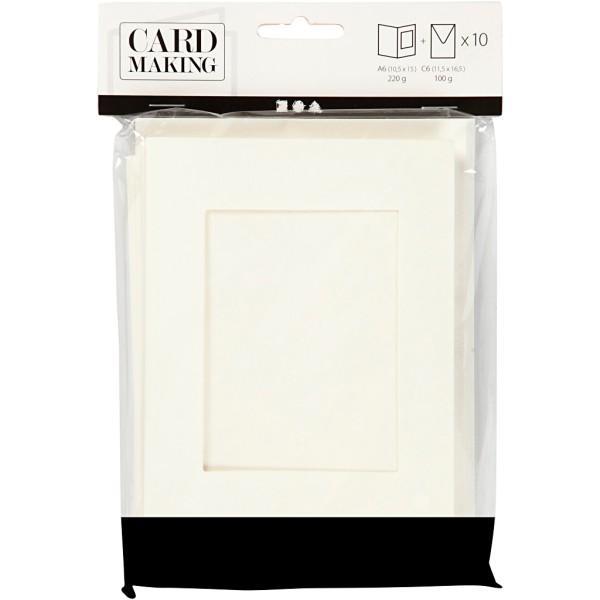 Cartes cadres carrés et enveloppes blanches - 10,5 x 15 cm - 10 pcs - Photo n°2