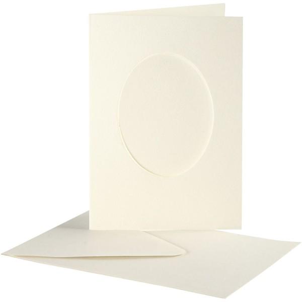 Cartes cadres ovales et enveloppes blanches - 10,5 x 15 cm - 10 pcs - Photo n°1
