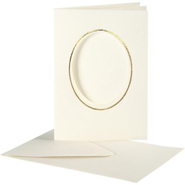 Cartes cadres ovales et enveloppes blanches et dorée - 10,5 x 15 cm - 10 pcs - Photo n°1