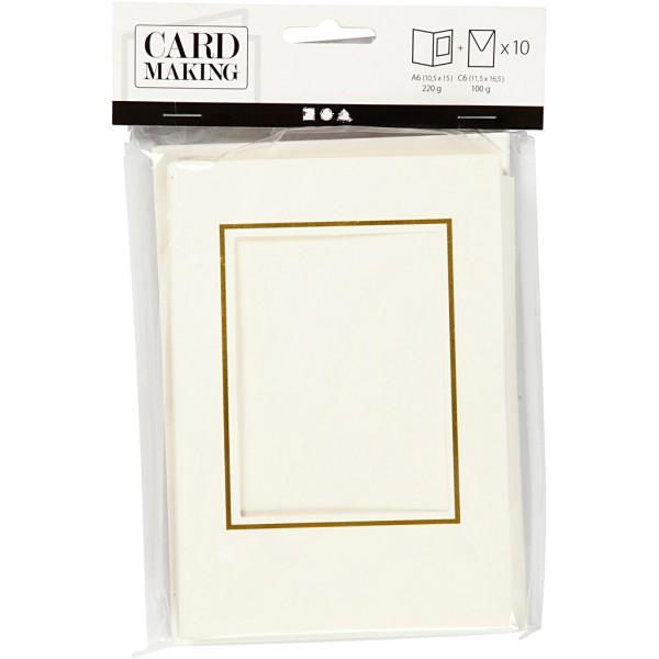 Cartes cadres carrés et enveloppes blanches et dorées - 10,5 x 15 cm - 10 pcs - Photo n°2