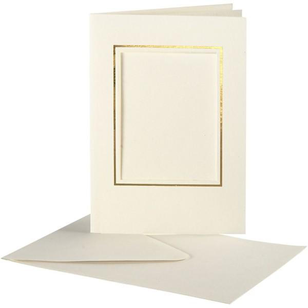 Cartes cadres carrés et enveloppes blanches et dorées - 10,5 x 15 cm - 10 pcs - Photo n°1