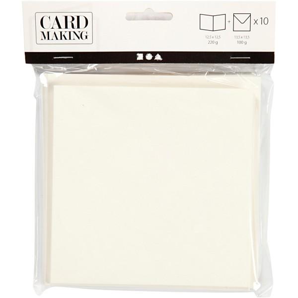 Cartes 12,5 x 12,5 cm et enveloppes - Blanc cassé - 10 sets - Photo n°2