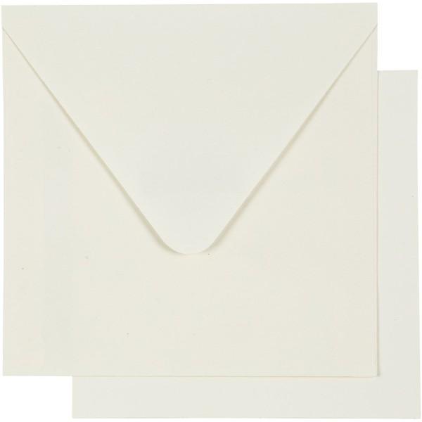 Cartes 12,5 x 12,5 cm et enveloppes - Blanc cassé - 10 sets - Photo n°3