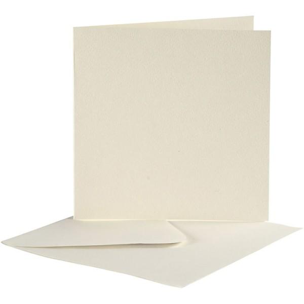 Cartes 12,5 x 12,5 cm et enveloppes - Blanc cassé - 10 sets - Photo n°1