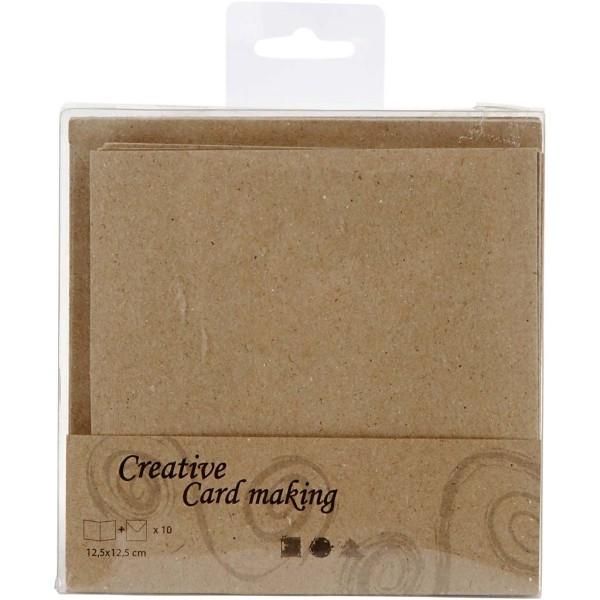 Cartes et enveloppes carrées - Naturel - 12,5 x 12,5 cm - 10 pcs - Photo n°3