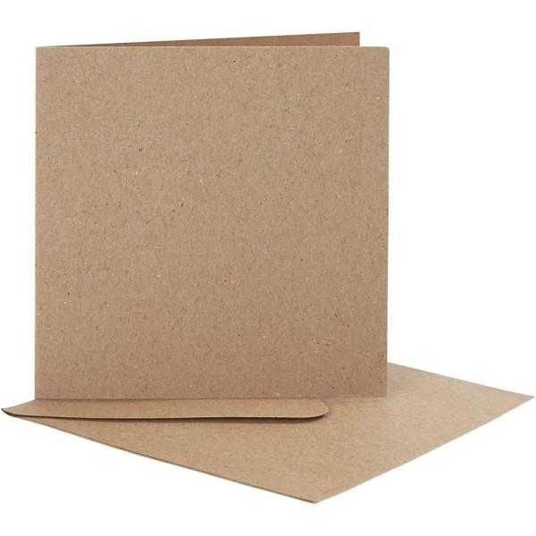 Cartes et enveloppes carrées - Naturel - 12,5 x 12,5 cm - 10 pcs - Photo n°1