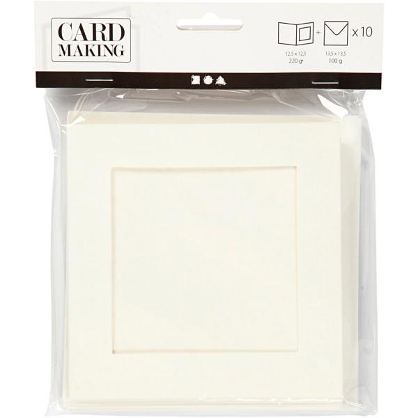 Cartes et enveloppes carrées avec cadre - Blanc - 12,5 x 12,5 cm - 10 pcs - Photo n°2