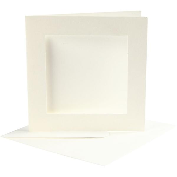 Cartes et enveloppes carrées avec cadre - Blanc - 12,5 x 12,5 cm - 10 pcs - Photo n°1