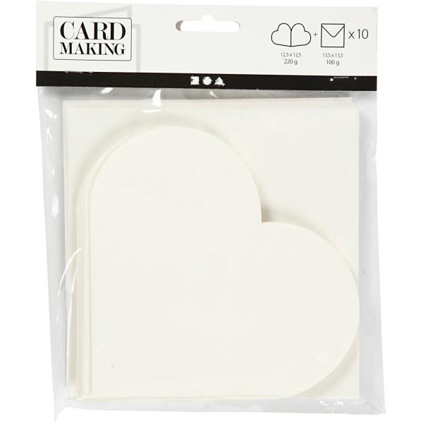 Cartes coeur 12,5 x 12,5 cm et enveloppes - Blanc cassé - 10 sets - Photo n°2