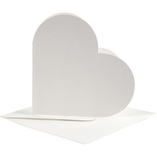 Cartes coeur 12,5 x 12,5 cm et enveloppes - Blanc cassé - 10 sets - Photo n°1