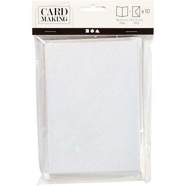 Cartes carrées nacrées 10,5 x 15 cm et enveloppes - Blanc crème - 10 sets - Photo n°2