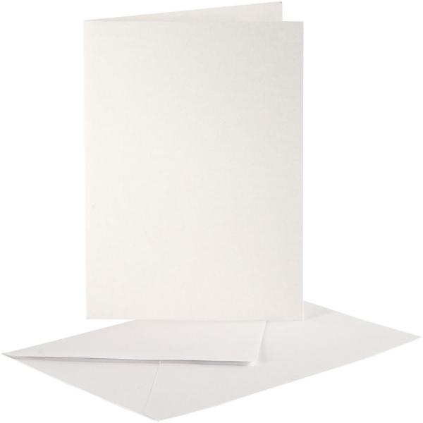 Cartes carrées nacrées 10,5 x 15 cm et enveloppes - Blanc crème - 10 sets - Photo n°1