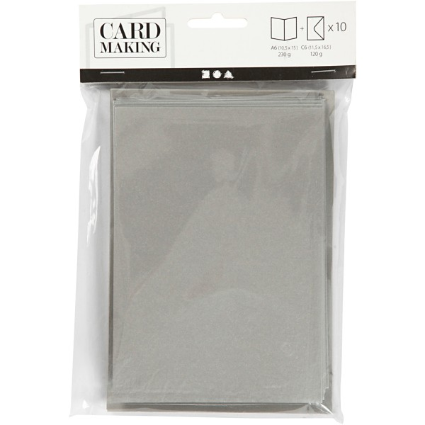 Cartes nacrées 10,5 x 15 cm et enveloppes - Gris argent - 10 sets - Photo n°2