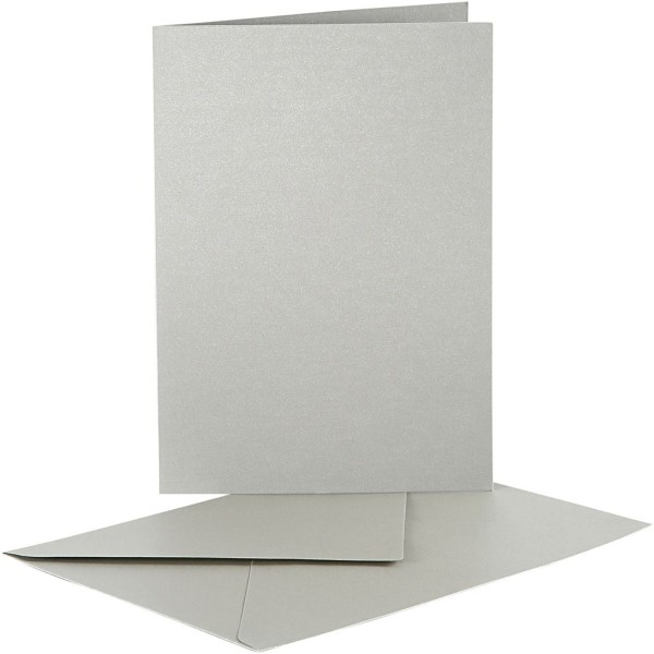 Cartes nacrées 10,5 x 15 cm et enveloppes - Gris argent - 10 sets - Photo n°1