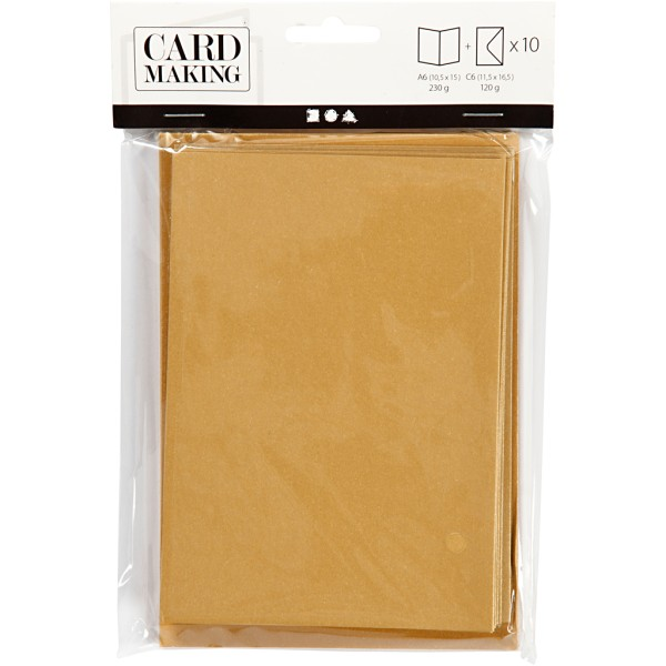 Cartes nacrées 10,5 x 15 cm et enveloppes - Jaune doré - 10 sets - Photo n°2