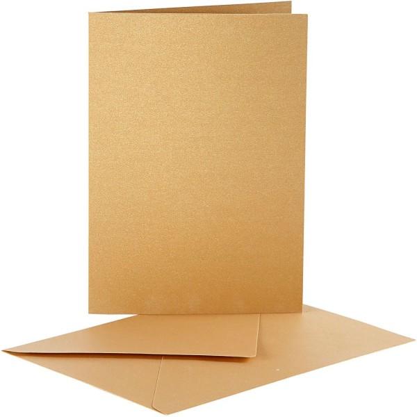 Cartes nacrées 10,5 x 15 cm et enveloppes - Jaune doré - 10 sets - Photo n°1