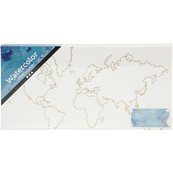 Toile Aquarelle avec motifs dorés - Carte du monde - 25,4 x 12,7 cm - Photo n°2