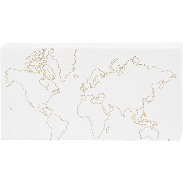 Toile Aquarelle avec motifs dorés - Carte du monde - 25,4 x 12,7 cm - Photo n°1