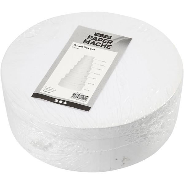 Assortiment de boîtes rondes en carton blanc - 8,5 à 21,5 cm - 7 pcs - Photo n°2
