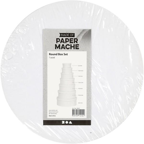 Assortiment de boîtes rondes en carton blanc - 8,5 à 21,5 cm - 7 pcs - Photo n°3
