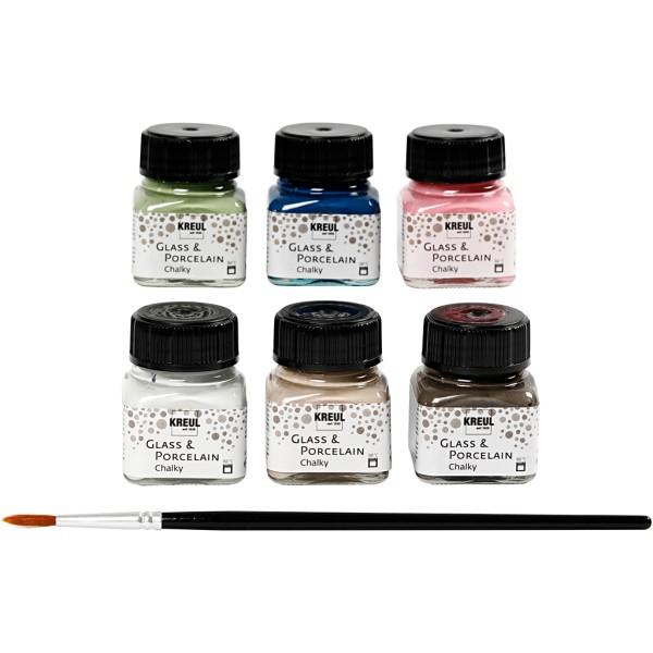 Peintures pour verre et porcelaine - Assortiment Chalky Opaque - 6 peintures et 1 pinceau - Photo n°1