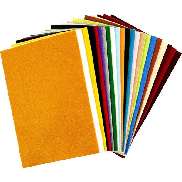 Assortiment de feutrine 20 x 30 cm - Multicolore   24 couleurs - Photo n°1