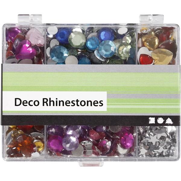 Lot de strass pierre avec boîte de rangement - Coeur, rond et étoile - Assortiment de couleurs - Photo n°2