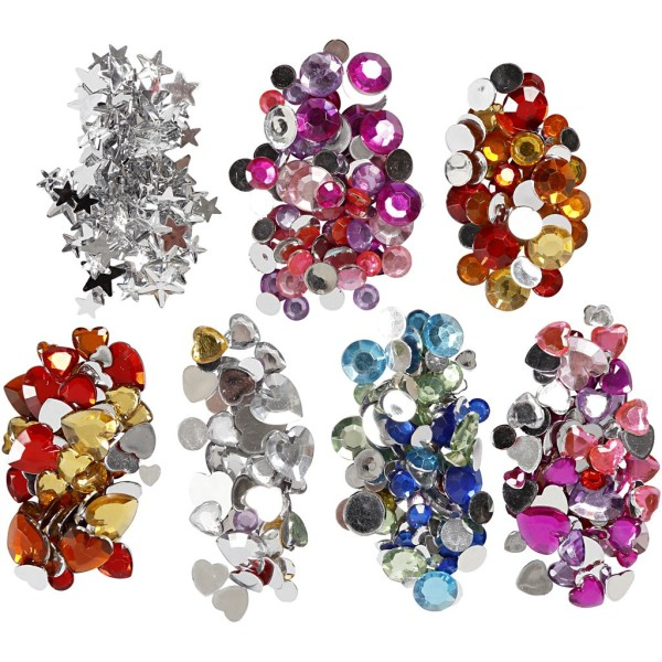 Lot de strass pierre avec boîte de rangement - Coeur, rond et étoile - Assortiment de couleurs - Photo n°3
