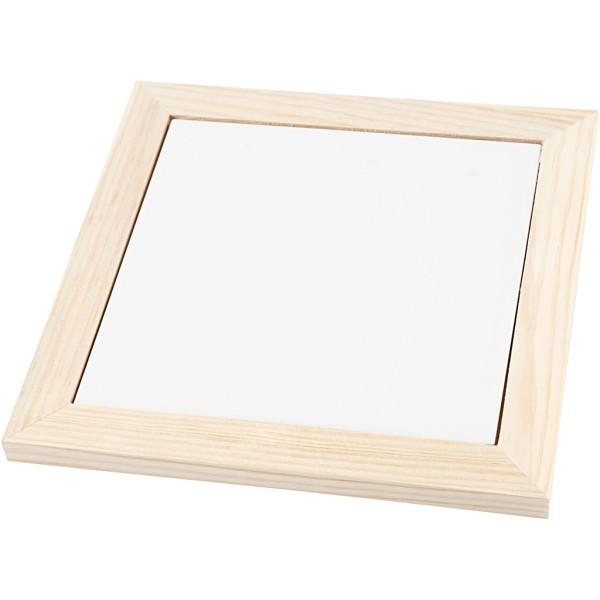 Dessous de plat en porcelaine et cadre en bois - Blanc - 18,5 x 18,5 x 1,16 cm - 1 pce - Photo n°1