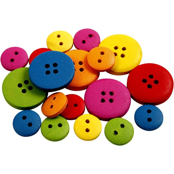 Lot de boutons en bois colorés - 12 à 20 mm - Couleurs assorties - 360 pcs - Photo n°3