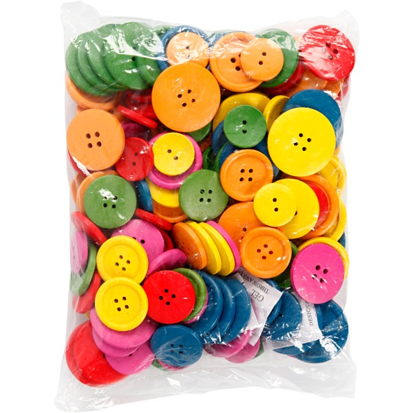 Assortiment de boutons en bois colorés - 25 à 40 mm - 144 pcs - Photo n°2