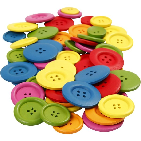 Assortiment de boutons en bois colorés - 25 à 40 mm - 144 pcs - Photo n°1