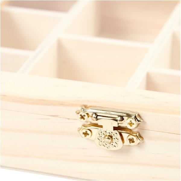 Boîte de rangement en bois - 15,5 x 20 cm - 10 compartiments - Photo n°2