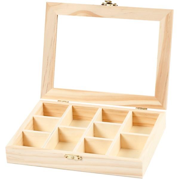 Boîte de rangement en bois - 15,5 x 20 cm - 10 compartiments - Photo n°1
