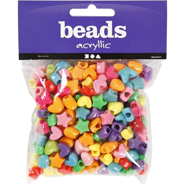Assortiment de perles en plastique multicolore - Coeur, étoile, papillon - 10 mm - Environ 280 pcs - Photo n°2