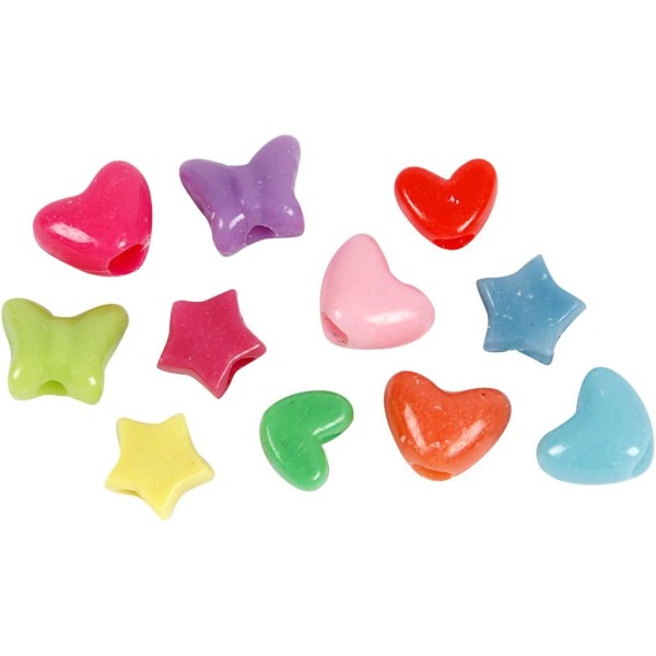 Assortiment de perles en plastique multicolore - Coeur, étoile, papillon - 10 mm - Environ 280 pcs - Photo n°1
