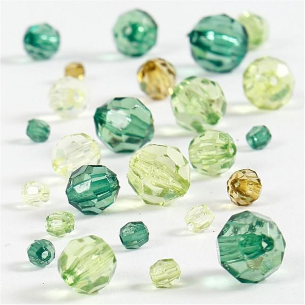 Perles à facettes transparentes - Mix Vert - 4 à 12 mm - Environ 170 pcs - Photo n°1