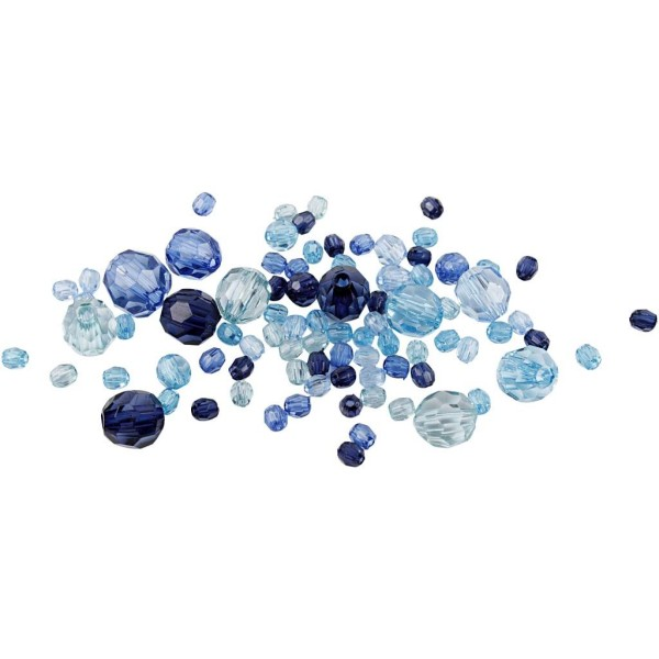 Perles à facettes transparentes - Mix bleu - 4 à 12 mm - Environ 170 pcs - Photo n°1