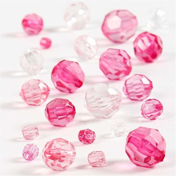 Perles à facettes transparentes - Mix Rose - 4 à 12 mm - Environ 170 pcs - Photo n°1