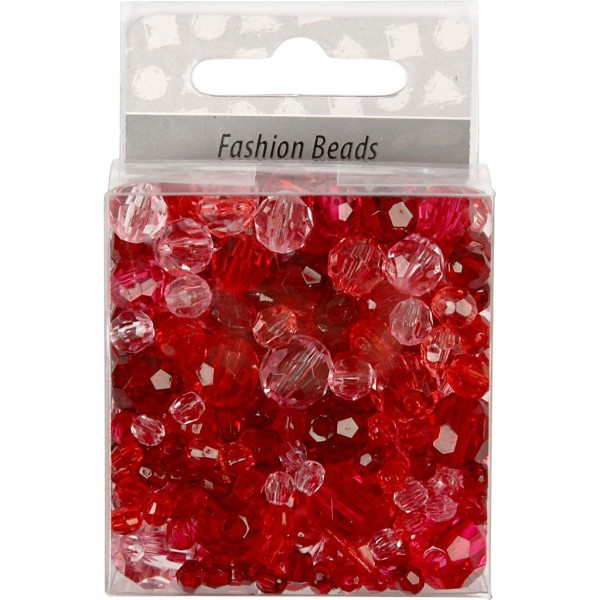 Perles à facettes transparentes - Mix rouge - 4 à 12 mm - Environ 170 pcs - Photo n°2