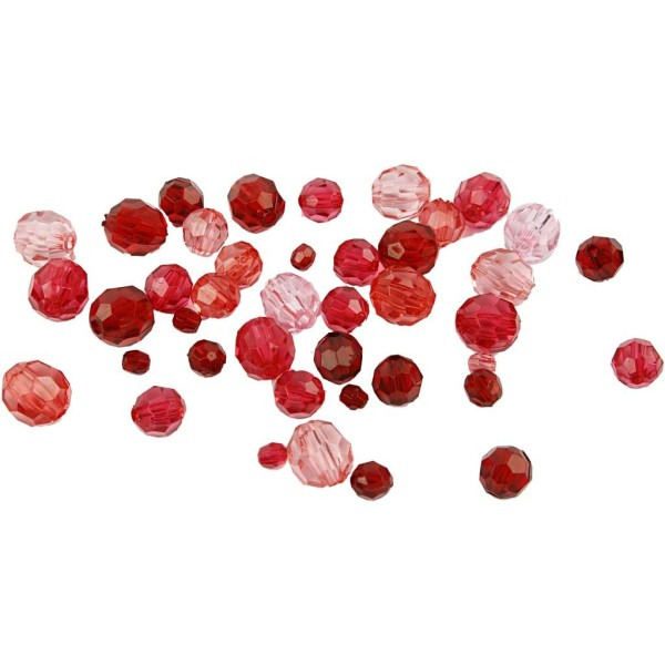 Perles à facettes transparentes - Mix rouge - 4 à 12 mm - Environ 170 pcs - Photo n°1