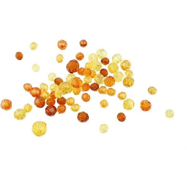 Perles à facettes transparentes - Mix jaune - 4 à 12 mm - Environ 170 pcs - Photo n°1