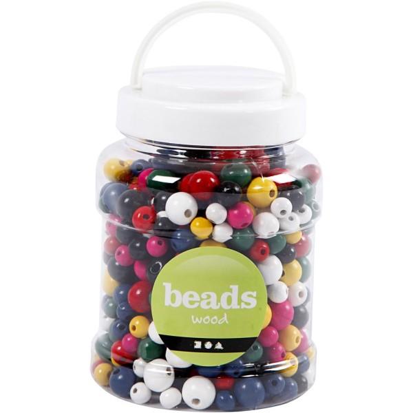 Assortiment de perles en bois multicolores - 8 à 12 mm - Environ 540 pcs - Photo n°2